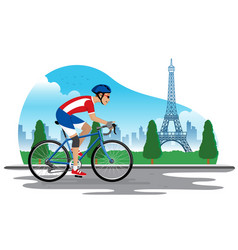 man cycling in france with eiffel tower background vector image
