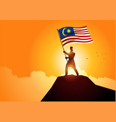Man in malay traditional costume holding the flag vector