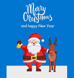 merry christmas happy new year poster santa deer vector image