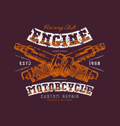 motorcycle engine repair emblem vector image