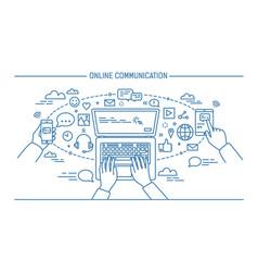 online communication lineart banner gadgets vector image