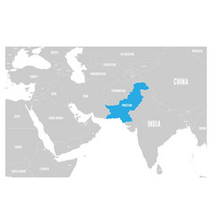 Pakistan blue marked in political map of south vector