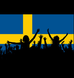 people silhouettes celebrating sweden national day vector image