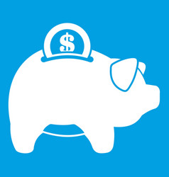 Pig money box icon white vector