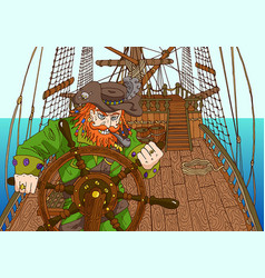 pirate captain by operating wheel vector image