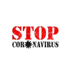 red and black sign stop coronavirus isolated on vector image