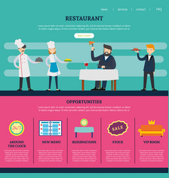 Restaurant page for website template vector