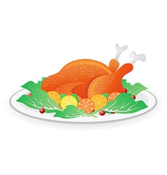 Roasted turkey on dish vector