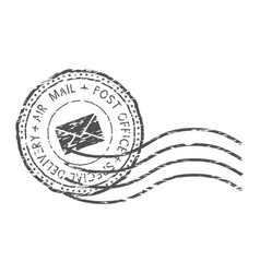 Round air mail black postmark with envelope sign vector