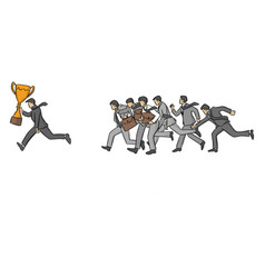 running businessman with gold trophy followed by vector image