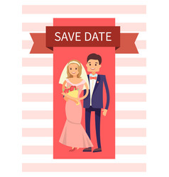 save date happy couple banner vector image