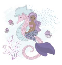 sea friend mermaid underwater horse vector image