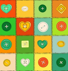 Seamless pattern of patchworks and sewing buttons vector image