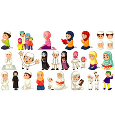 set different muslim people cartoon character vector image
