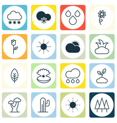 Set of 16 harmony icons includes sunshine vector