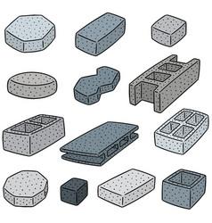 set of concrete construction block vector image