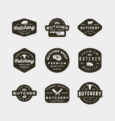 set of vintage butchery logos retro styled meat vector image