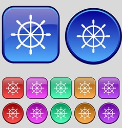 Ship steering wheel icon sign A set of twelve vector