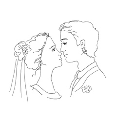 Sketch of bride and groom vector image