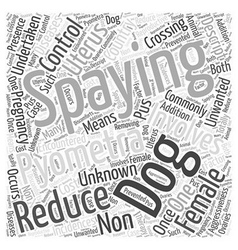 Spaying of the Female dog Word Cloud Concept vector