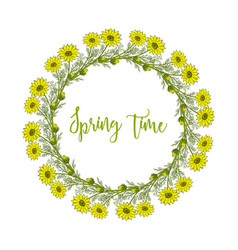 Spring wreath with pheasant s eye flowers vector