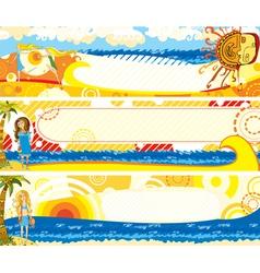 Summer banners set girl vector
