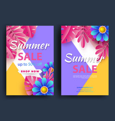 summer sale background layout bannersvoucher vector image