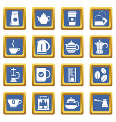 tea and coffee icons set blue vector image