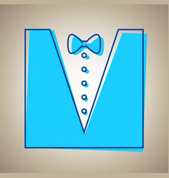 Tuxedo with bow silhouette sky blue icon vector
