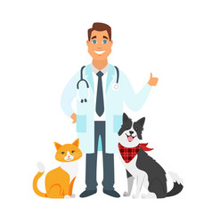 Veterinarian doctor with cat dog vector