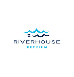 water ripple sea wave river house logo icon vector image