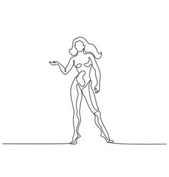 woman standing in anatomy position continuous line vector image