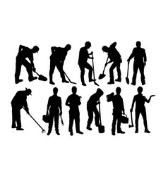 Worker activity silhouettes vector