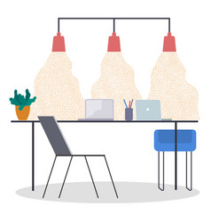 workplace in office place workspace with table vector image