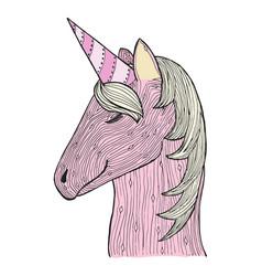 Zen tangle and doodle unicorn zentangle pink vector