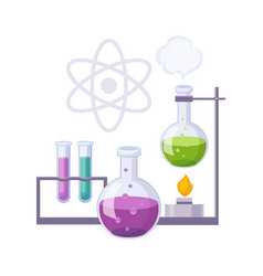 Chemistry kit with test tubes and chemicals set vector