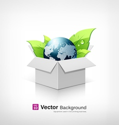Globe and leaf on open white box vector image vector image