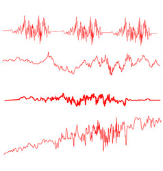 red sound waves set screen of equalizer vector image vector image