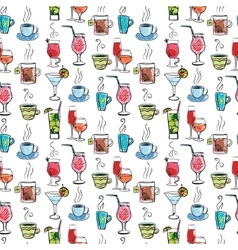 Seamless pattern with various drinks and cocktails vector image vector image