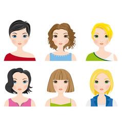 set of female avatars vector image vector image