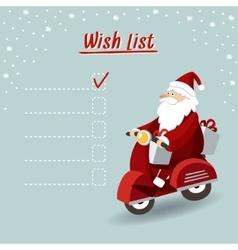 Cute christmas greeting card wish list with Santa vector image vector image
