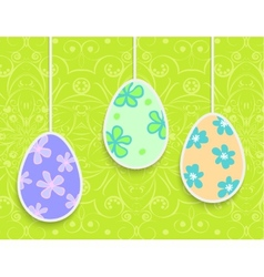 Easter background with hanging on the ropes eggs vector image vector image