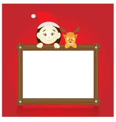 Santa claus and reindeer holding wood board vector image vector image
