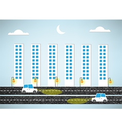 urban landscape and road of evening vector image vector image