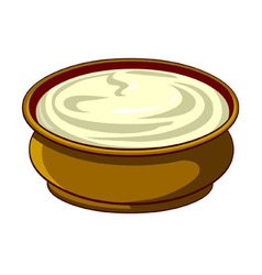 bowl with sour cream vector image vector image