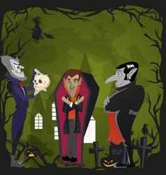 halloween backgrounds set with vampire and their vector image