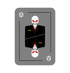 Playing card death Skeleton in business suit New vector image
