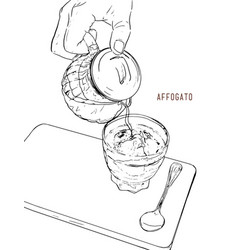 affogato coffee hand drawn sketch line art vector image
