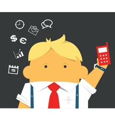 Businessman with a phone hardworking and busy vector image