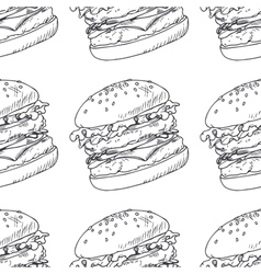 Seamless pattern with sketched burger cheeseburger vector image